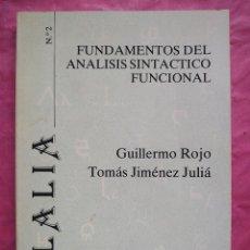 Libros: FUNDAMENTOS DEL ANÁLISIS SINTÁCTICO FUNCIONAL. Lote 253293595