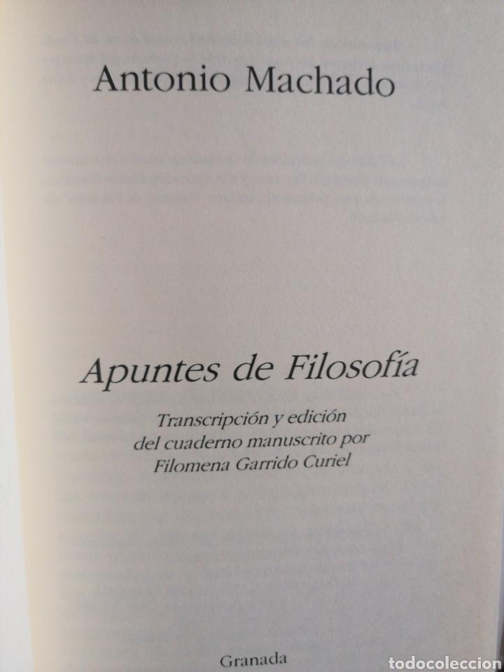 Libros: Antonio Machado. Apuntes de filosofía. Filomena Garrido - Foto 3 - 273630018
