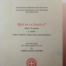 Libros: QUE ES LA LOGICA. CARLES LLINAS I PUENTE. Lote 196544568