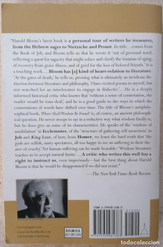 Libros: Where Shall Wisdom Be Found? - HAROLD BLOOM - PENGUIN RANDOM HOUSE - 2005 - Foto 2 - 210468181