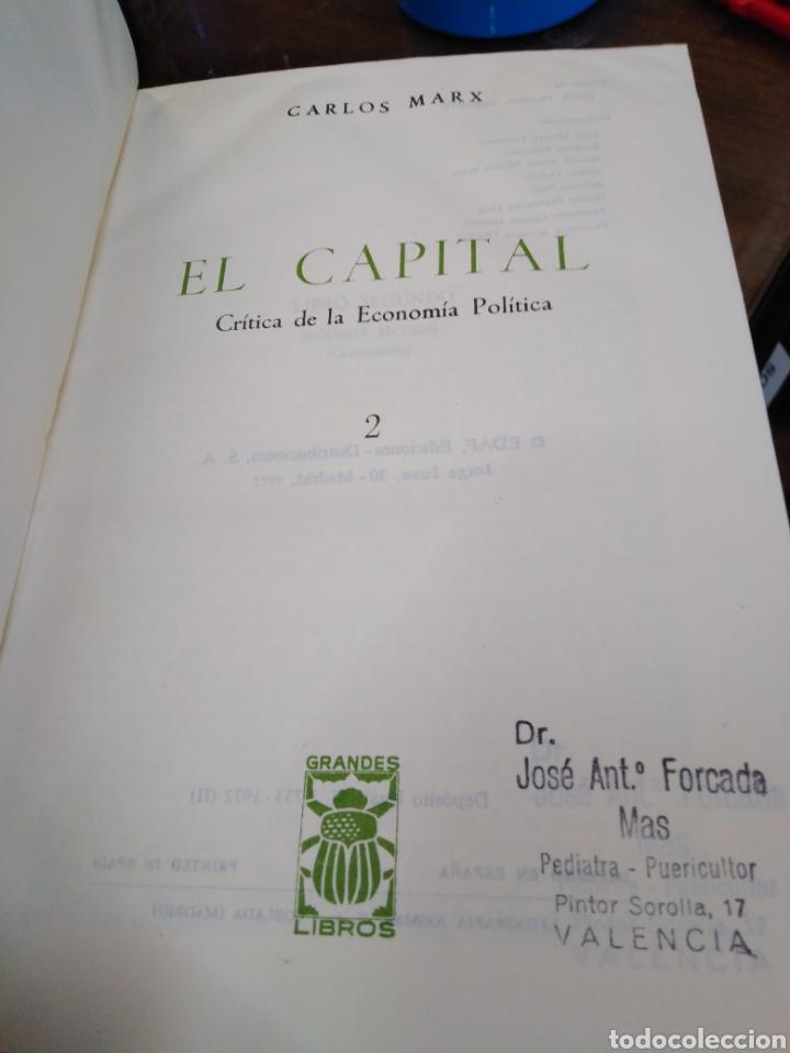 Libros: EL CAPITAL-CARLOS MARX-2 TOMOS COMPLETO,EDITA E.D.A.F-CUÑO DE ANTIGUO PROPIETARIO,PAPEL BIBLIA, - Foto 8 - 218969526