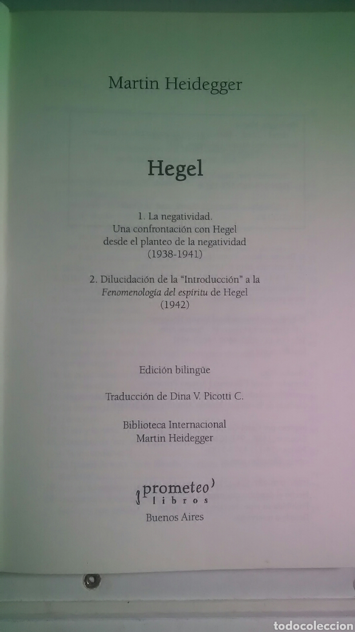 Libros: Heidegger. Hegel. Prometeo libros. 2005. 1a. Edición. Bilingüe. - Foto 3 - 224793732