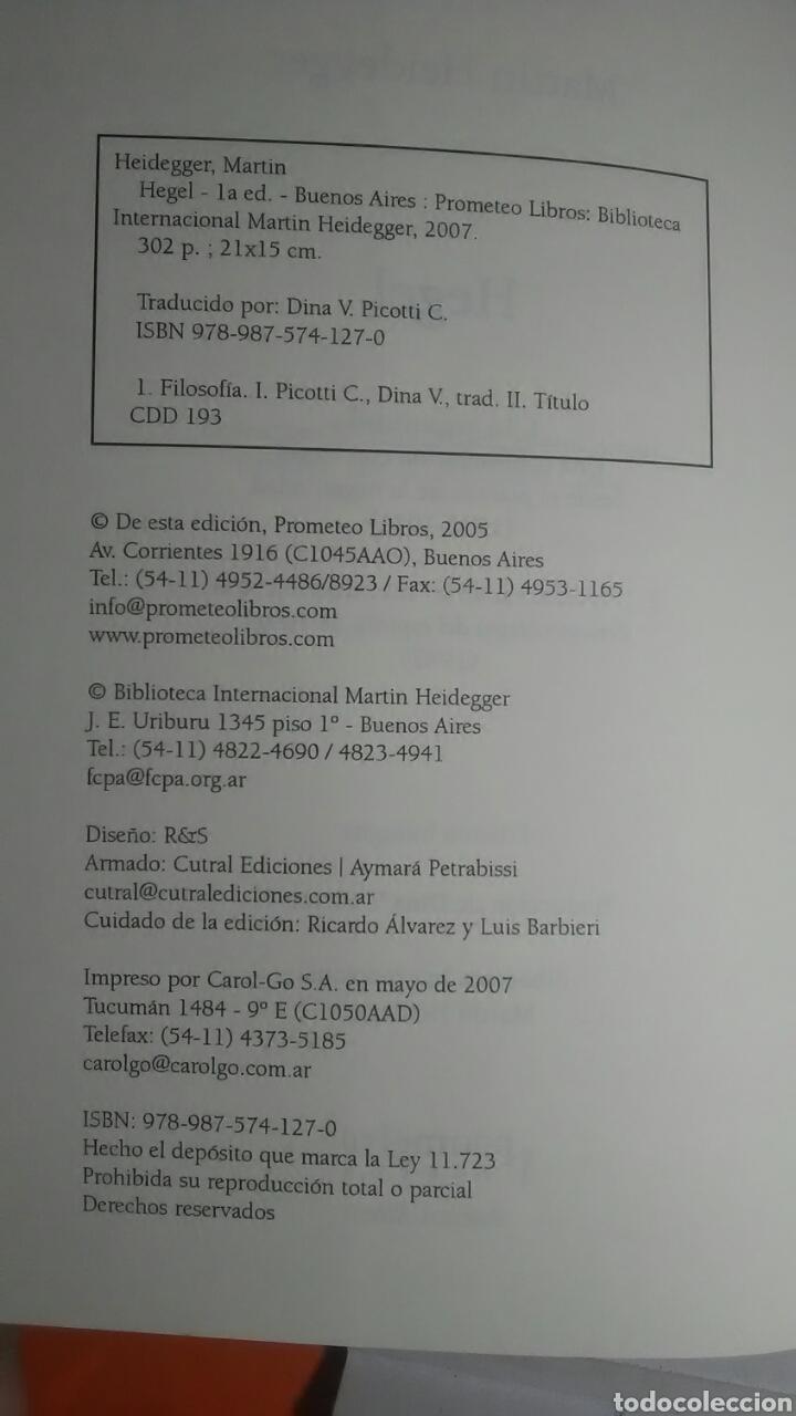 Libros: Heidegger. Hegel. Prometeo libros. 2005. 1a. Edición. Bilingüe. - Foto 4 - 224793732