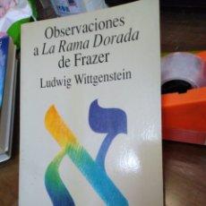 Libri: OBSERVACIONES A LA RAMA DORADA DE FRAZER-LUDWIG WITTGENSTEIN-EDITA TECNOS 1992. Lote 230959115