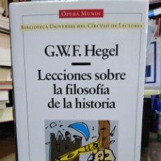Livres: LECCIONES SOBRE LA FILOSOFÍA DE LA HISTORIA-G.W.F.HEGEL-FILOSOFIA-OPERA MUNDI, 1995. Lote 239543410