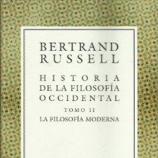 Libros: HISTORIA DE LA FILOSOFÍA OCCIDENTAL II / BERTRAND RUSSELL. Lote 261942225