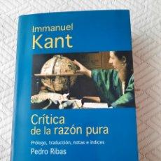 Libros: INMANUEL KANT: CRITICA DE LA RAZÓN PURA. Lote 266095023