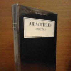 Libros: ARISTÓTELES - POLÍTICA - BIBLIOTECA CLÁSICA GREDOS Nº 36 - 2015. Lote 276728233