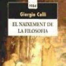 Libros: EL NAIXEMENT DE LA FILOSOFÍA. Lote 277461713