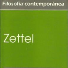 Libros: ZETTEL / LUDWIG WITTGENSTEIN.. Lote 277647978