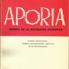 Libros: MONOGRÁFICO BIBLIOGRAFÍA LUDWIG WITTGENSTEIN / APORÍA.. Lote 277722748