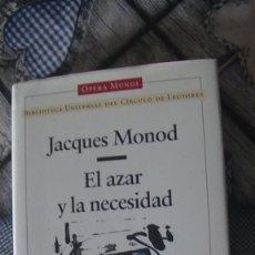 Libros: EL AZAR Y LA NECESIDAD JACQUES MONOD. CIRCULO DE LECTORES 1999. Lote 293825298