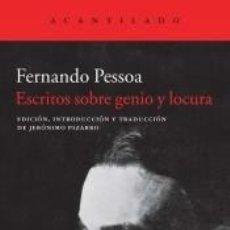 Libros: ESCRITOS SOBRE GENIO Y LOCURA. Lote 296620563