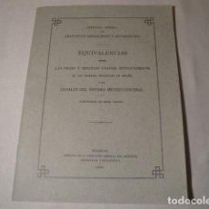 Libros: EQUIVALENCIAS ENTRE LAS PESAS Y MEDIDAS USADAS ANTIGUAMENTE. MADRID 1886. AÑO 1992.NUEVO. Lote 155507826