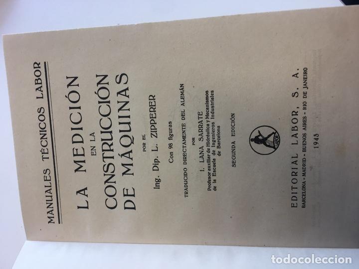 Libros: La medición en la construcción de máquinas. L. Zipperer - Foto 2 - 165067854