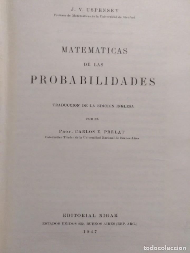MATEMÁTICAS DE LAS PROBABILIDADES DE J.V. USPENSKY 1947 (Libros Nuevos - Ciencias, Manuales y Oficios - Física, Química y Matemáticas)
