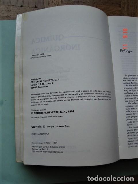Libros: LIBRO QUÍMICA INORGÁNICA DE ENRIQUE GUTIÉRREZ RÍOS. EDITORIAL REVERTÉ. AÑO 1991. - Foto 4 - 176162144