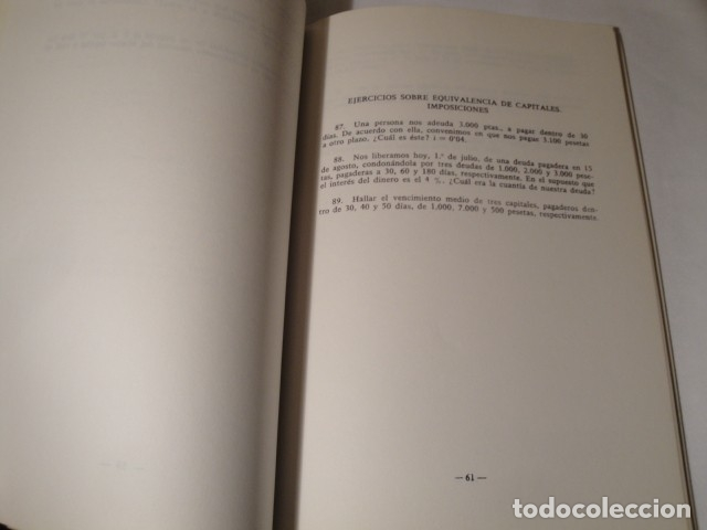 Libros: Ejercicios de Matemáticas Comerciales. Año 1969. Autor: José López Urquía. Nuevo. - Foto 4 - 176571653