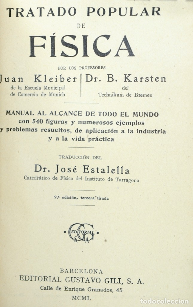 Libros: TRATADO POPULAR DE FISICA JUAN KLEIBER - 9ª EDICION 1950 - Foto 3 - 182391642
