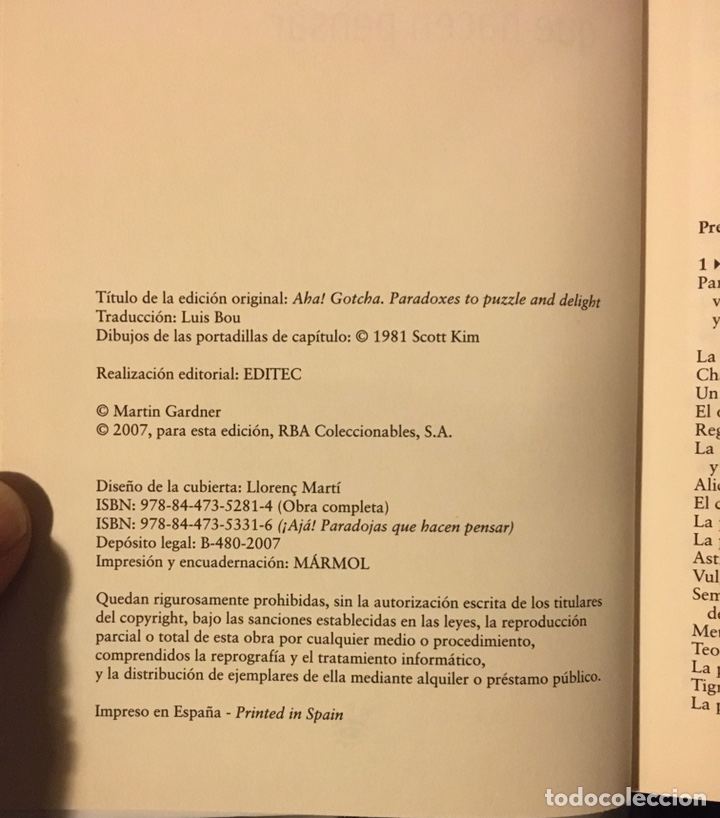 Libros: Martin Gardner - ¡Ajá! Paradojas que hacen pensar - Foto 3 - 184578440