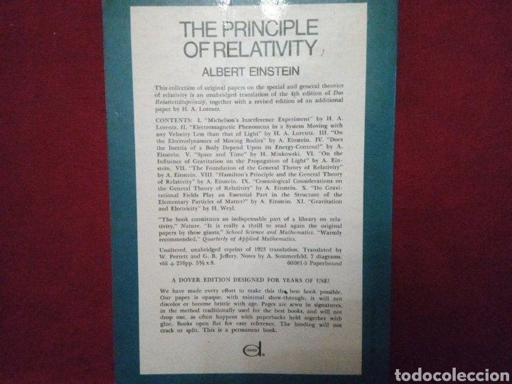 Libros: The Principle of Relativity. Albert Einstein. En inglés. - Foto 2 - 197684308