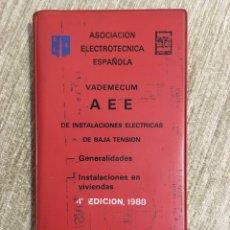 Libros: FÓRMULAS DE ELECTROTÉCNICA VADEMÉCUM A.E.E., MAS DE 218 PAGINAS. Lote 201358860