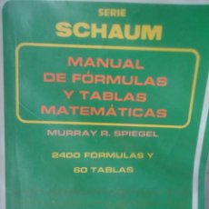 Libros: FÓRMULAS Y TABLAS MATEMÁTICAS. Lote 209159426