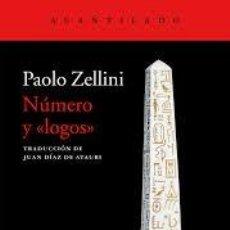 Libros: NÚMERO Y LOGOS PAOLO ZELLINI. Lote 215141488