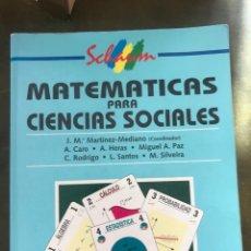 Libros: MATEMATICAS PARA CIENCIAS SOCIALES . VARIOS AUTORES. ED MC GRAW HILL. Lote 219726193