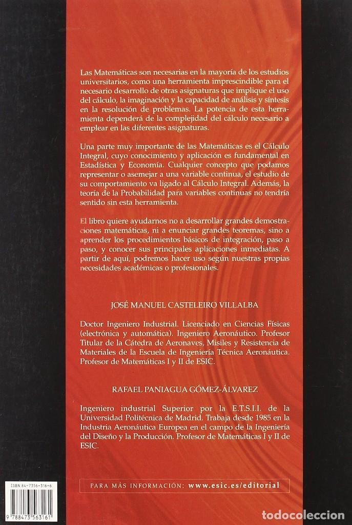 Libros: CÁLCULO INTEGRAL. Rafael Paniagua y José M. Casteleiro. ESIC - Foto 2 - 235388340