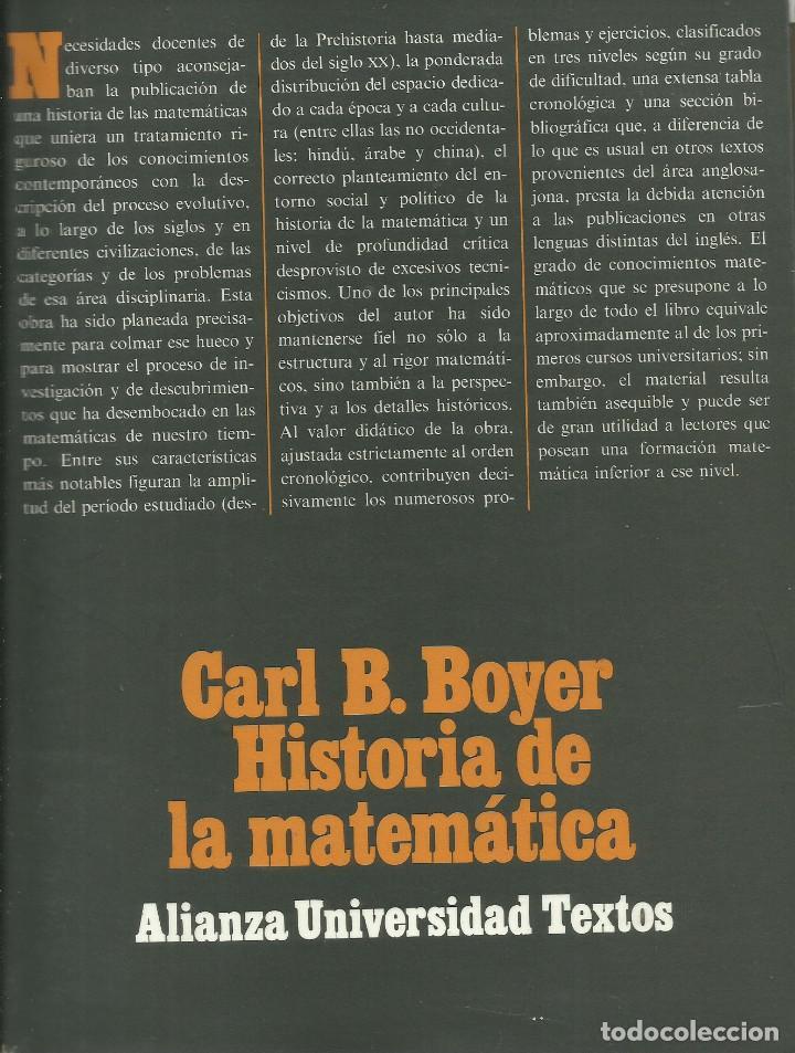 HISTORIA DE LA MATEMÁTICA / CARL B. BOYER. (Libros Nuevos - Ciencias, Manuales y Oficios - Física, Química y Matemáticas)