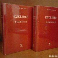 Livros: EUCLIDES - ELEMENTOS EN 2 VOLÚMENES - BIBLIOTECA CLÁSICA GREDOS 2015. Lote 265658614