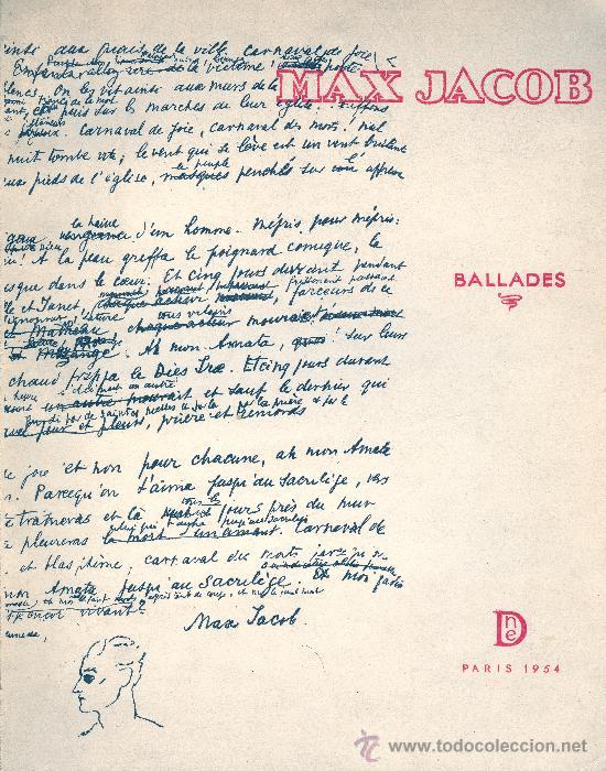 MAX JACOB. BALLADES. PARÍS, 1954. FRANCÉS (Libros Nuevos - Idiomas - Francés)