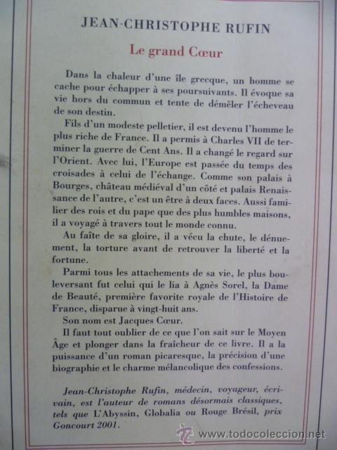 Libros: LE GRAND COEUR, Jean Christophe Rufin - roman (en frances) Editions Gallimard, 2012 - Foto 6 - 38790556