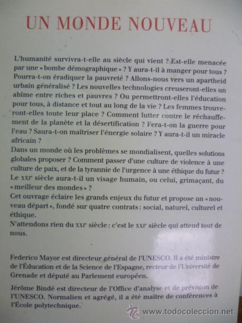 Libros: UN MONDE NOUVEAU, Frederico Mayor - Editions ODILE JACOB - 1999 (en frances) - Foto 7 - 38790583