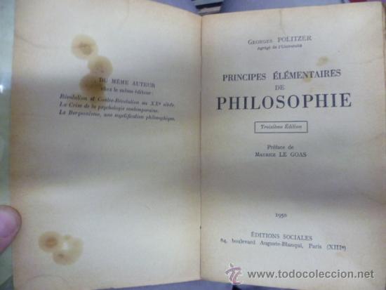 Libros: LIBRAIRIE JOSEPH GIBERT - Principes Elementaires de Philosophie, 1950 / 301 pag. (en frances) - Foto 3 - 39138970