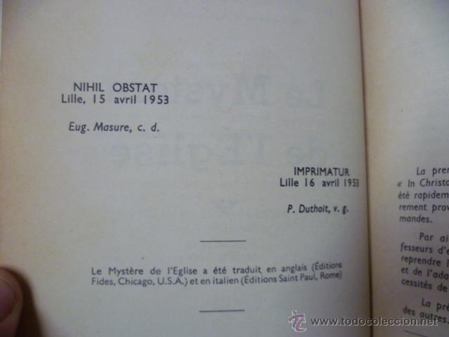 Libros: Le Mystere de L Eglise - R. Hasseveldt - 1953 (en frances) - Foto 5 - 44655568