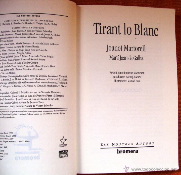 Libros: Libro Tirant Lo Blanc Editorial Bromera Ilustraciones Manuel Boix en valenciano - Foto 2 - 47094136
