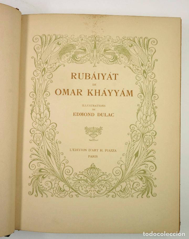 Libros: RUBÁIYÁT DE OMAR KHÁYYÁM DE NAISHÁPÚR, ED. LEDITION DART H. PIAZZA, PARIS. 24x30,5cm - Foto 2 - 99347575