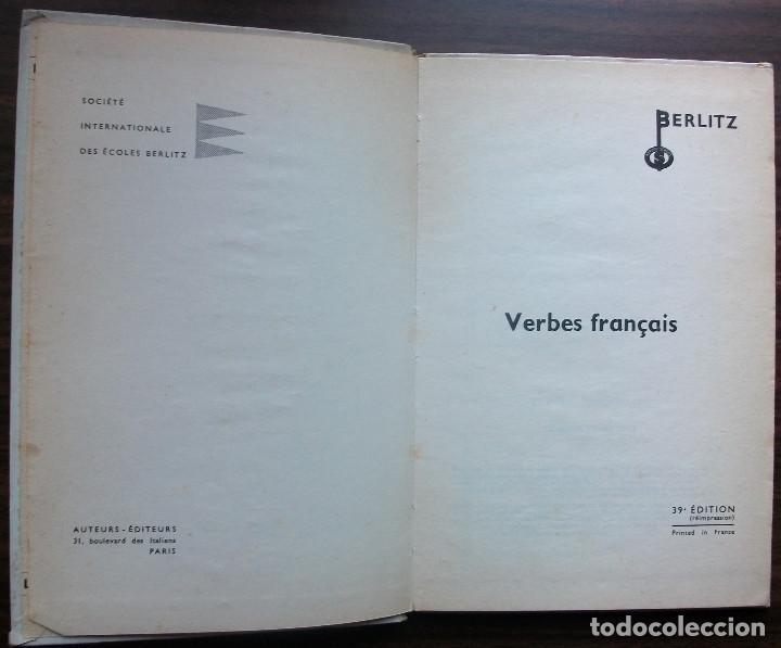 Libros: FRANÇAIS. VERBES FRANÇAIS. BERLITZ. 39ª EDITION 1959 - Foto 2 - 147675506