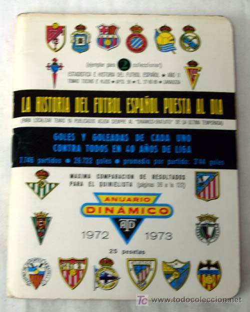 ANUARIO DINAMICO FÚTBOL TEMPORADA 1972 - 1973 (Coleccionismo Deportivo - Libros de Fútbol)