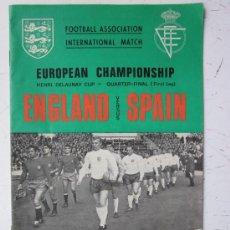Coleccionismo deportivo: PROGRAMA OFICIAL FUTBOL - INGLATERRA ESPAÑA -AÑO 1968-WEMBLEY - EUROPEAN CHAMPIONSHIP, QUARTER FINAL. Lote 29331786