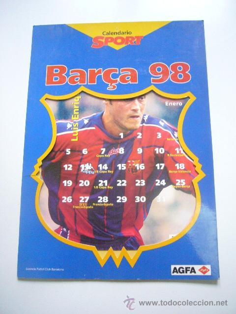 F.C. BARCELONA - CALENDARIO BARÇA 98 - SOLO ENERO LUIS ENRIQUE - SPORT C36 (Coleccionismo Deportivo - Libros de Fútbol)