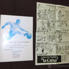 Coleccionismo deportivo: CLUB DEPORTIVO EUROPA BARCELONA FUTBOL ANIVERSARIO POSTER ORIGINAL BARRI GRACIA CATALUÑA AÑOS 70 . Lote 40480088