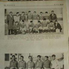 Coleccionismo deportivo: AGRUPACION DEPORTIVA AEG Y CUBINO MADRID.CON LOS NOMBRES DE LOS JUGADORES.AÑO 1958-59.1 HOJA. Lote 40640281