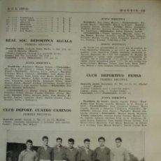 Coleccionismo deportivo: REAL SOCIEDAD DEPORTIVA ALCALA DE HENARES.MADRID.FUTBOL,NOMBRES DE JUGADORES.AÑO 1958-59.1 HOJA. Lote 40640315