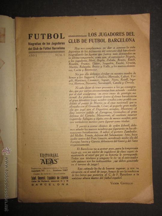 Coleccionismo deportivo: F.C.BARCELONA- BIOGRAFIA JUGADORES NOGUES, MIRO,RAICH, ROSALEN,MARTIN , ESCOLA...AÑOS 40-(CD-1287) - Foto 2 - 46992345