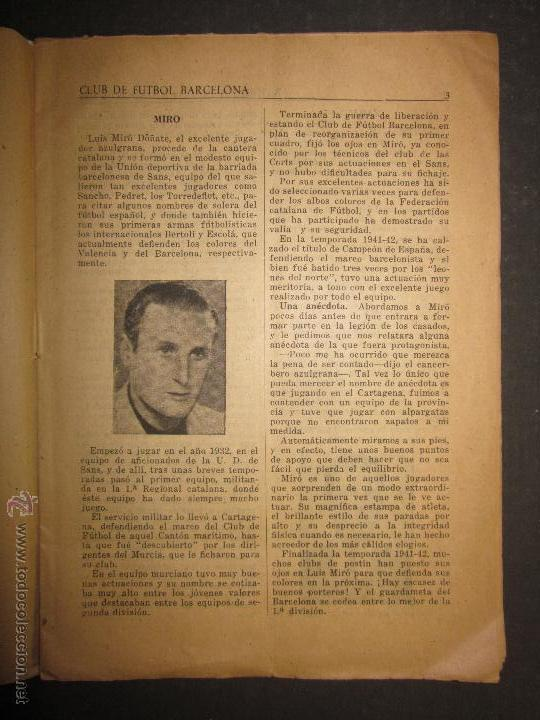 Coleccionismo deportivo: F.C.BARCELONA- BIOGRAFIA JUGADORES NOGUES, MIRO,RAICH, ROSALEN,MARTIN , ESCOLA...AÑOS 40-(CD-1287) - Foto 4 - 46992345