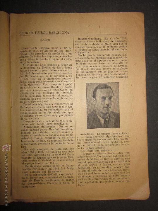 Coleccionismo deportivo: F.C.BARCELONA- BIOGRAFIA JUGADORES NOGUES, MIRO,RAICH, ROSALEN,MARTIN , ESCOLA...AÑOS 40-(CD-1287) - Foto 6 - 46992345
