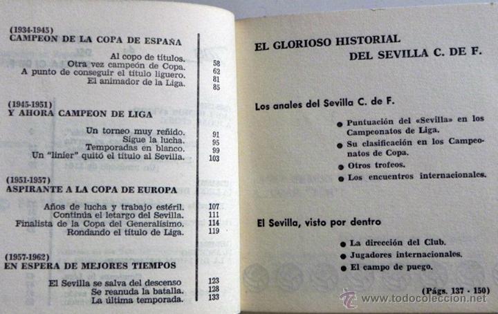 Coleccionismo deportivo: HISTORIA DEL SEVILLA C DE F - LIBRO SEVILLA FC FÚTBOL CLUB - DEPORTE FOTOS SFC - JR AGUILAR BRUGUERA - Foto 3 - 53651842